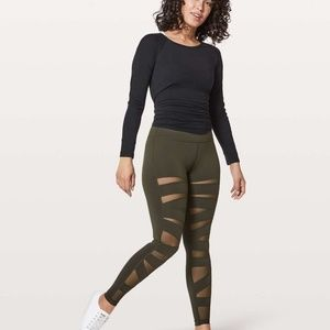 NWT Lululemon Wunder Under Tech Mesh Dark Olive